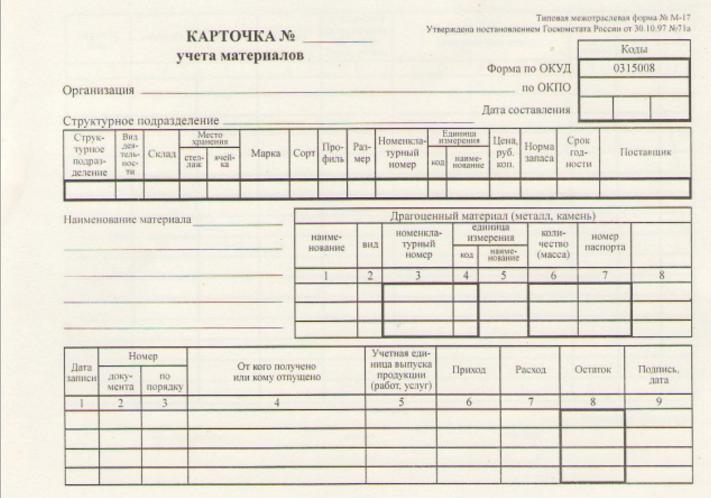 Карточка учета материалов М-17