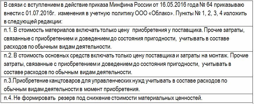 внесении изменений в Учетную политику с 01.07.2016