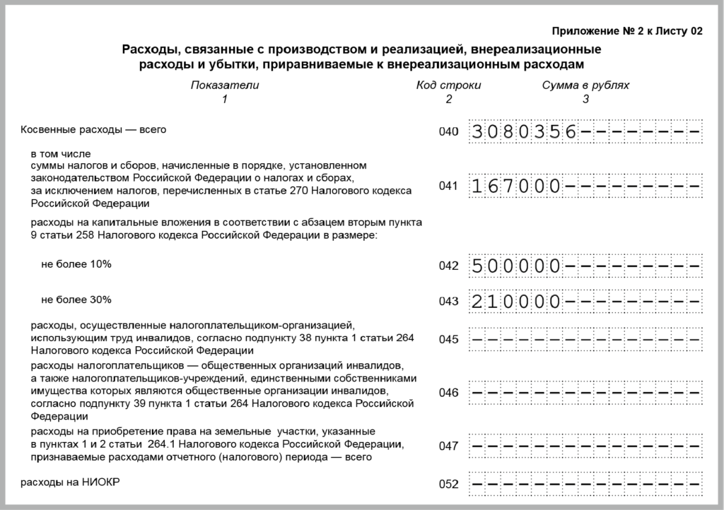 косвенные расходы по налогу на прибыль перечень стр. 040