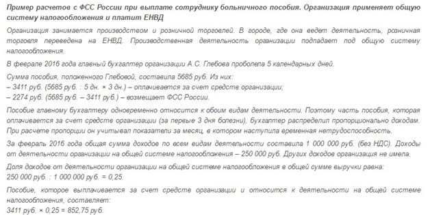 Пример возмещения по больничным листам ФСС