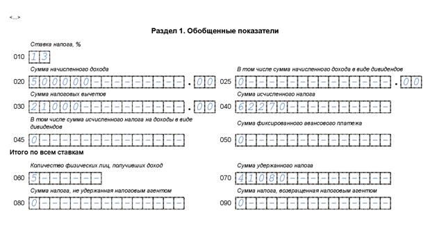 пример заполнения 6-НДФЛ за 1 квартал Раздел 1