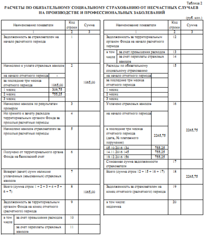 отчет промежуточный в фсс таблица 2