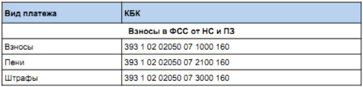КБК на 2017 год для уплаты взносов ФСС НС и ПЗ