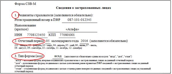 Форма СЗВ-М. Разделы 1-3