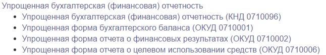 Состав упрощенной бух. отчетности