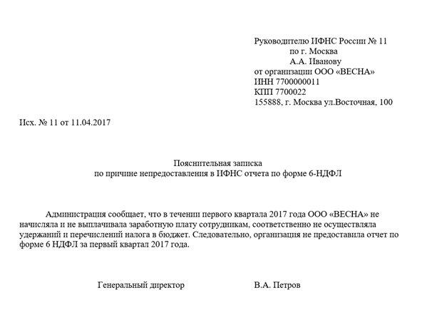 Образец письма в налоговую о нулевом 6 ндфл код страны россия для справки 2 ндфл россия